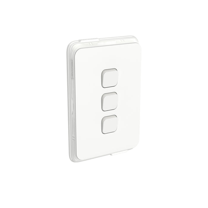 Clipsal Iconic 3 Gang Switch 10a Vertical IP44, Vivid White