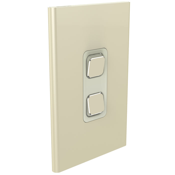 Clipsal Iconic 2 Gang Switch Plate - Skin Only, Crowne