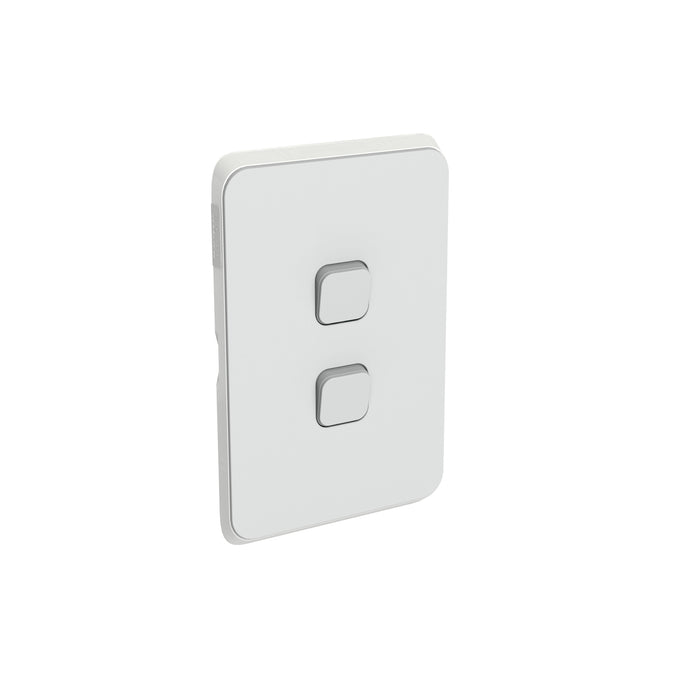 Clipsal Iconic 2 Gang Switch Plate - Skin Only, Cool Grey