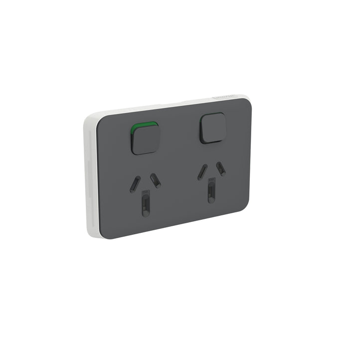 Clipsal Iconic Double Powerpoint Outlet 10a - Skin Only, Anthracite