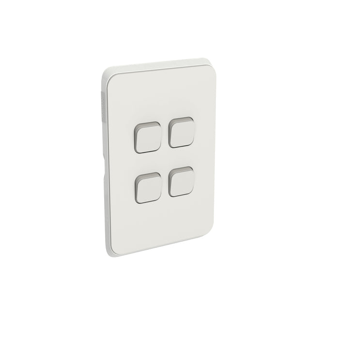 Clipsal Iconic 4 Gang Switch Plate - Skin Only, Warm Grey