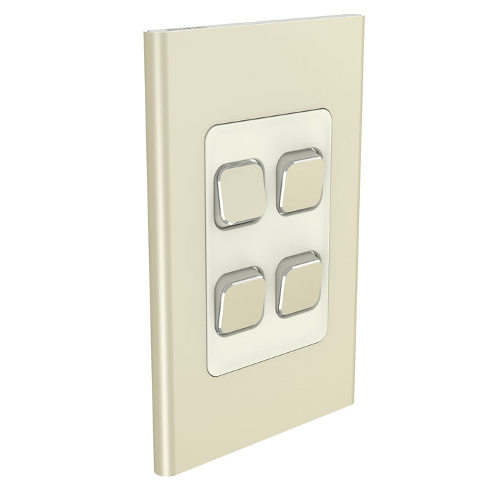 Clipsal Iconic 4 Gang Switch Plate - Skin Only, Crowne