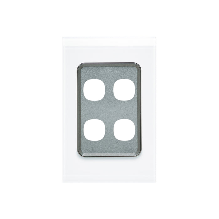 Clipsal Saturn Series 4 Gang Grid And Plate Assembly, Pure White
