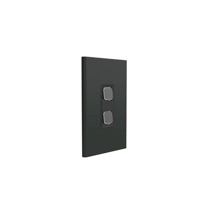 Clipsal Iconic 2 Gang Switch Plate - Skin Only, Silver Shadow