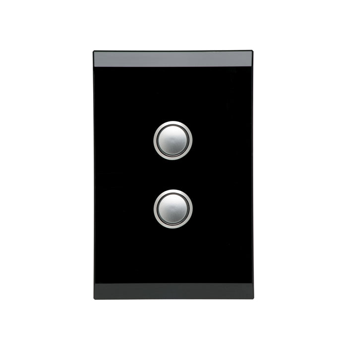 Clipsal Saturn Series 2 Gang Push Button LED, Espresso Black