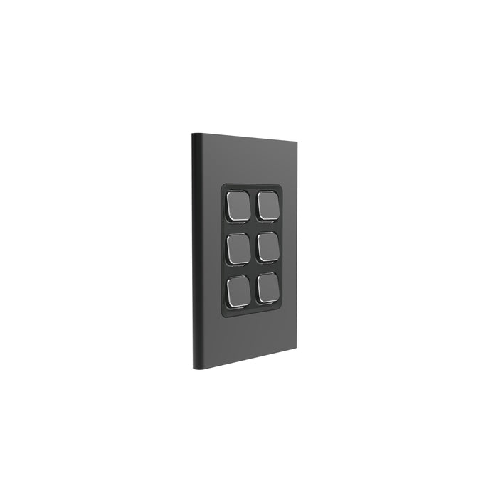 Clipsal Iconic 6 Gang Switch Plate - Skin Only, Silver Shadow