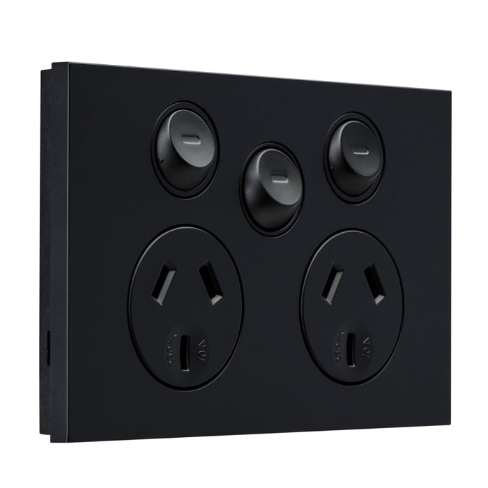 Clipsal Saturn Zen Twin Socket Outlet 10a 250v With Extra Switch, Matt Black
