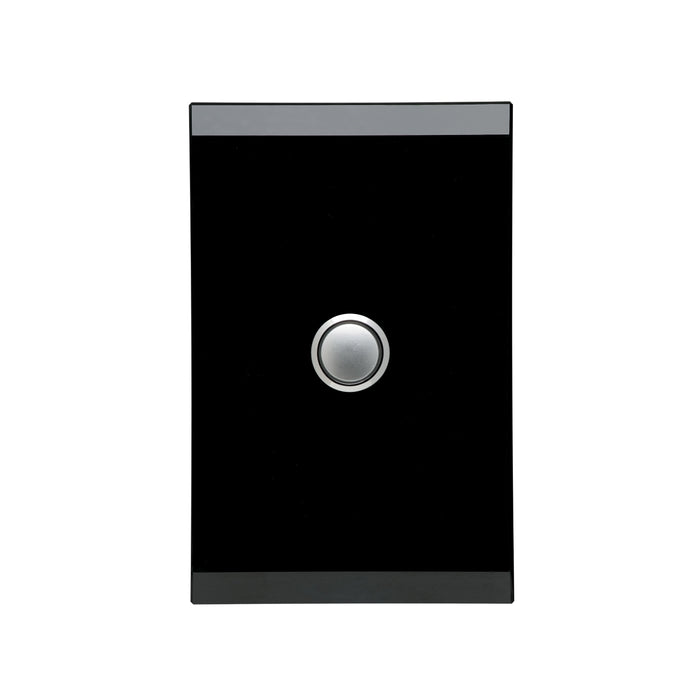 Clipsal Saturn Series 1 Gang Switch Push Button LED, Espresso Black