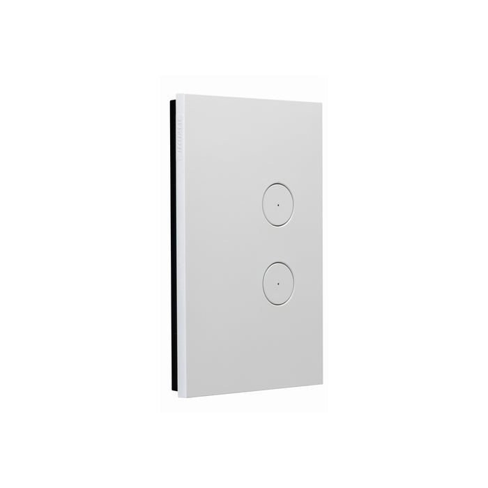 Clipsal Saturn Zen Switch 2 Gang Push Button LED, Matt White
