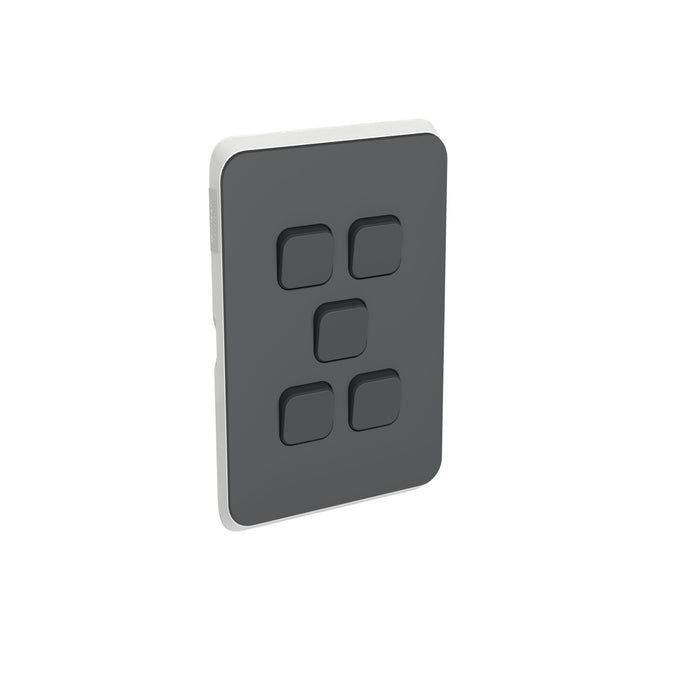 Clipsal Iconic 5 Gang Switch Plate - Skin Only, Anthracite