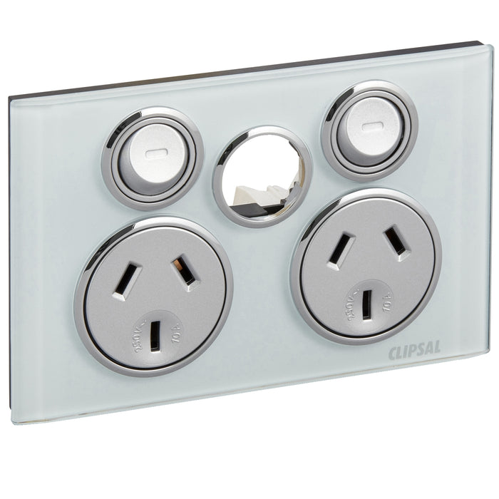 Clipsal Saturn Series Twin Powerpoint Outlet 10a Less Extra Switch, Ocean Mist
