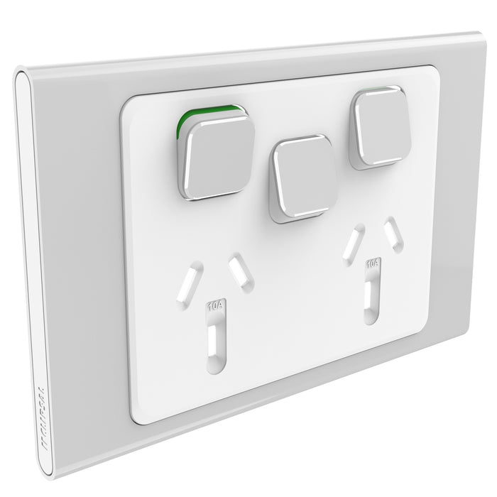 Clipsal Iconic Twin Powerpoint Outlet 10a With Extra Switch - Skin Only, Silver
