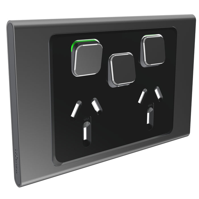 Clipsal Iconic Double Power Point Outlet 10a With Extra Switch - Skin Only, Silver Shadow