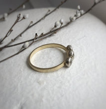 Load image into Gallery viewer, Past present future three stone white sapphire ring - Yellow gold, white gold