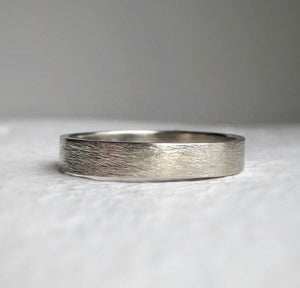 White gold - 4mm - Rustic wedding band