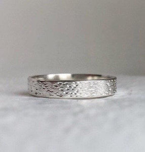 925 - 4mm - Textured silver wedding band Silver wedding band - rustic sterling silver wedding band - silver wedding ring - minimal wedding band