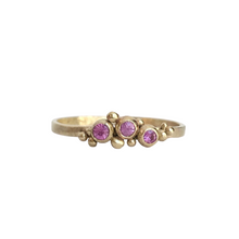 Load image into Gallery viewer, Three stone pink sapphire stacking ring - recycled gold sapphire ring - stacking ring - eco friendly stacking ring - dainty ring