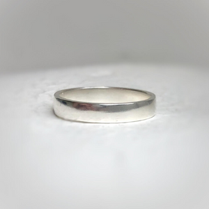 925 - 4mm - Semi-polished wedding band Traditional wedding ring - Sterling silver wedding band, minimal silver, semi-polish.