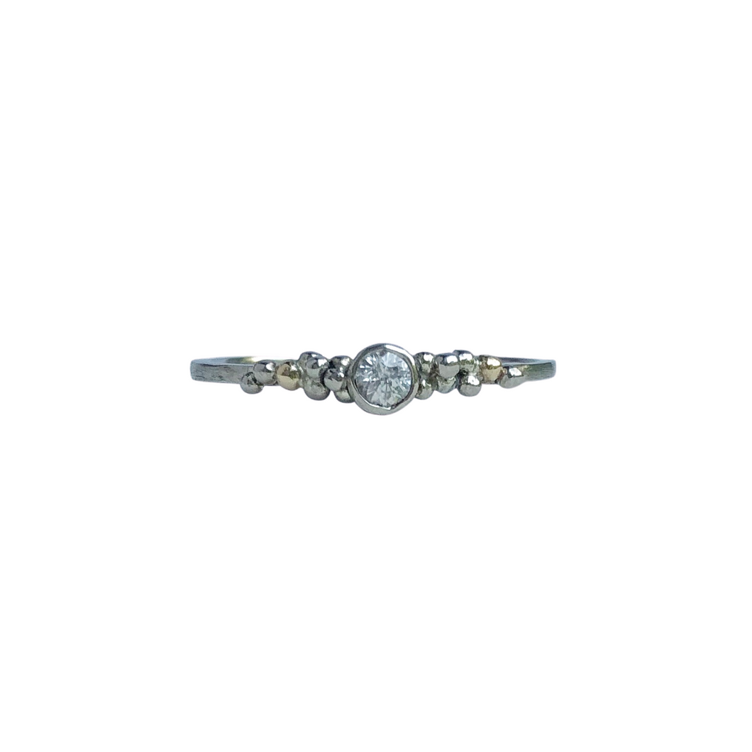 Dainty white sapphire promise ring - minimalist engagement ring - granulated ring.
