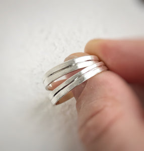 925 - 4mm and 4mm - Linear wedding band set
