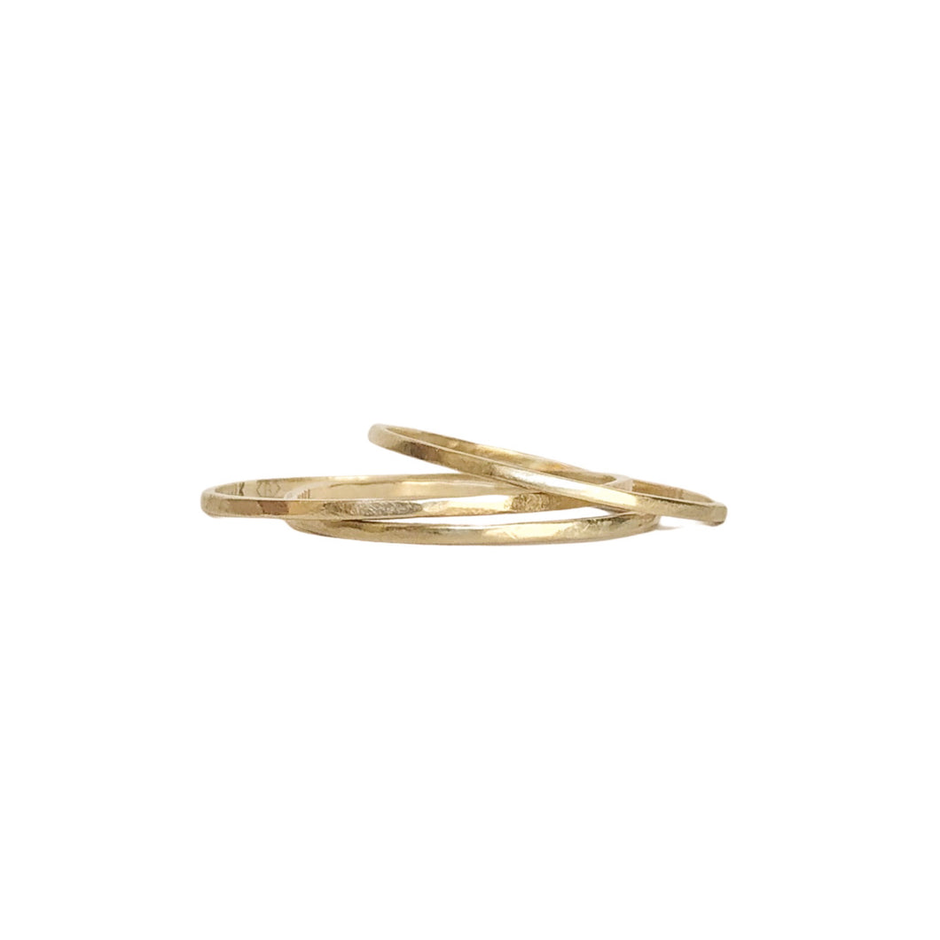 Ultra thin band - 1mm gold band- thin rustic yellow gold wedding band - Ethically sourced - stacking ring - stacking gold bands.