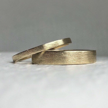 Load image into Gallery viewer, Ethically sourced Yellow gold wedding band set - Wedding bands his and hers - Wedding bands - Handcrafted in ethical gold - Gold wedding band. Recycled gold eco friendly and sustainable.