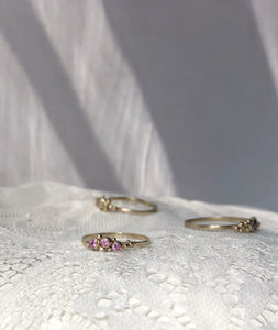 Pink sapphire three stone ring - yellow gold