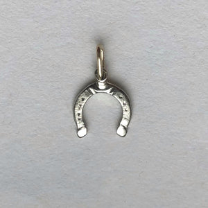 Horseshoe charm- 10kt white gold - handcrafted