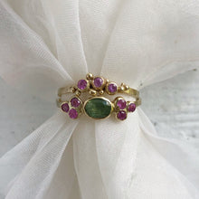 Load image into Gallery viewer, Pink sapphire three stone ring - yellow gold