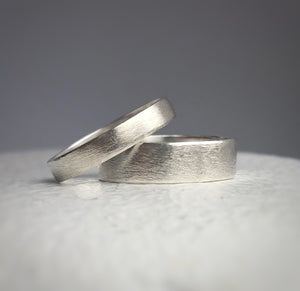 925 - 4mm and 6mm - Rustic wedding band set