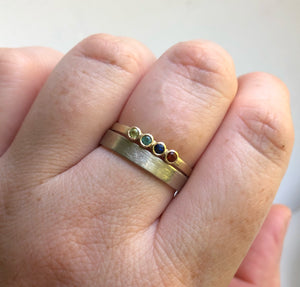 Yellow gold - Multi stone ring - Family ring - birthstone ring - Mother's ring