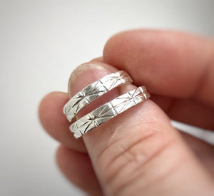 925 - 4mm and 4mm - Geometric wedding band set