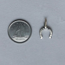 Load image into Gallery viewer, Horseshoe charm- 10kt white gold - handcrafted