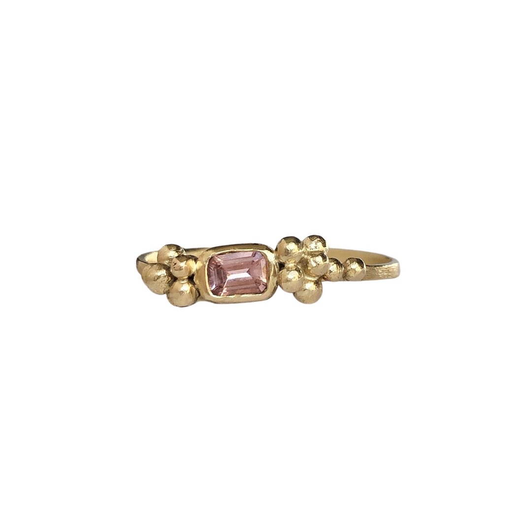 Pink sapphire stacking ring - recycled gold sapphire ring - stacking ring - eco friendly stacking ring