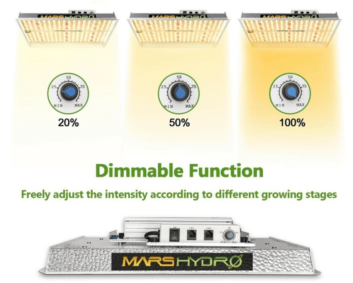 Mars Hydro TS 1000 dimmable driver. Adjust the intensity according to the different growing stages of the plants