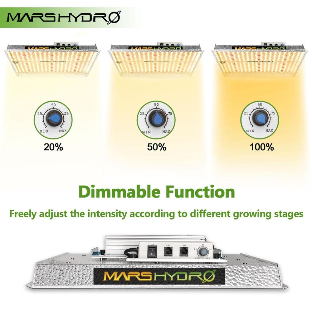 Mars Hydro TSW 2000 comes with a dimmable driver letting you adjust the light intensity depending on the growing stage of your plants