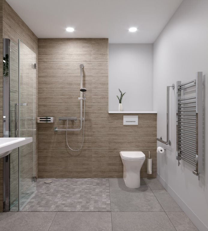 3D render of a neutral level access wet room