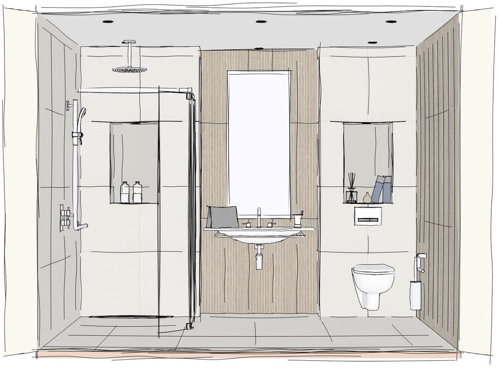 A sketch of a wetroom focussed on a wall hung basin and tall mirror in the centre, flanked by a level access shower to the left and a toilet to the right