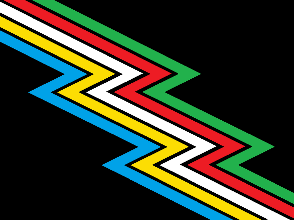 The disability pride flag. A colourful striped zig zag on a black background