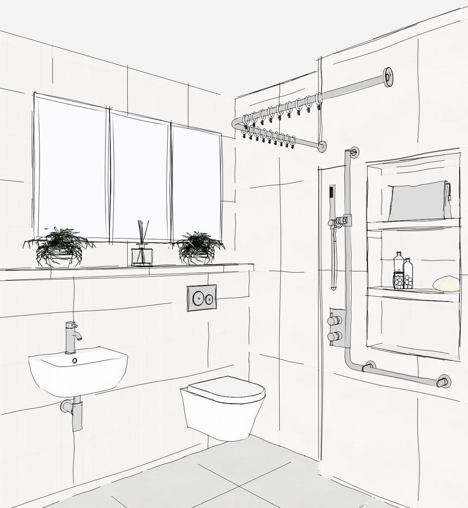 A corner view of an accessible wetroom with shower curtain, storage niches in shower and L shaped shower riser grab rail