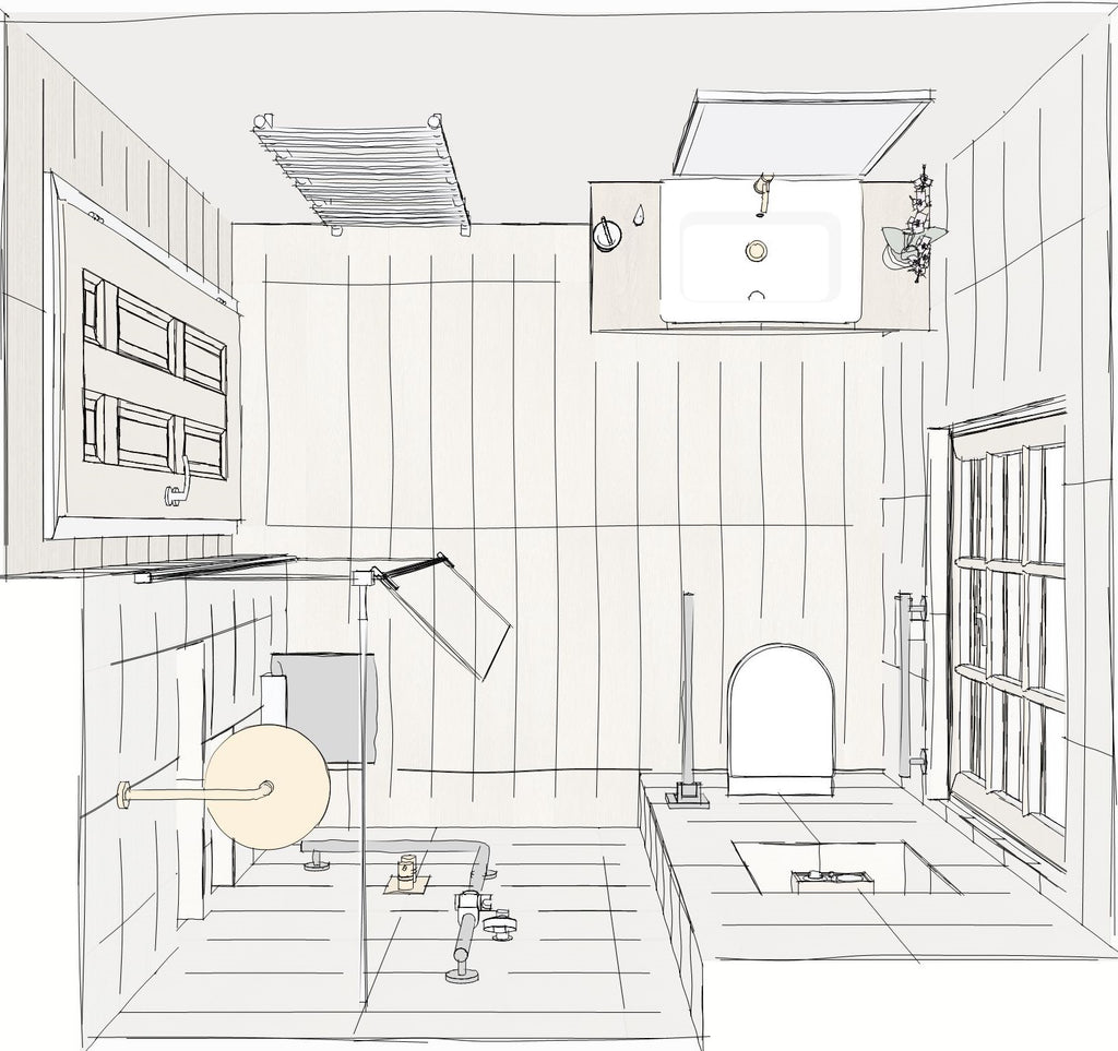 Birdseye view floor plan in sketch style of a level access wet room, including shower area (bottom left beside a panelled door), basin (top right) and toilet (bottom right with window beside).