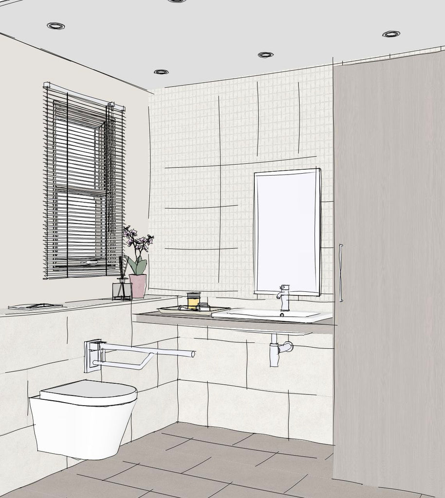 A corner view of an accessible bathroom, featuring a wall hung toilet to the left under a window and a basin on a shelf and storage cupboard on the right