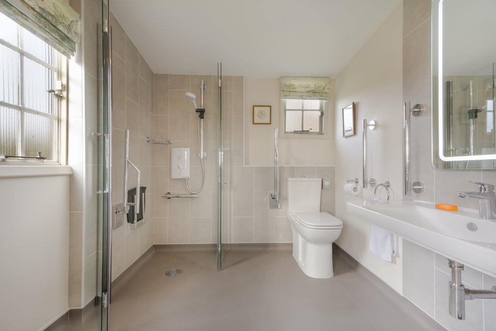 National Trust accessible holiday cottage bathroom after renovation.