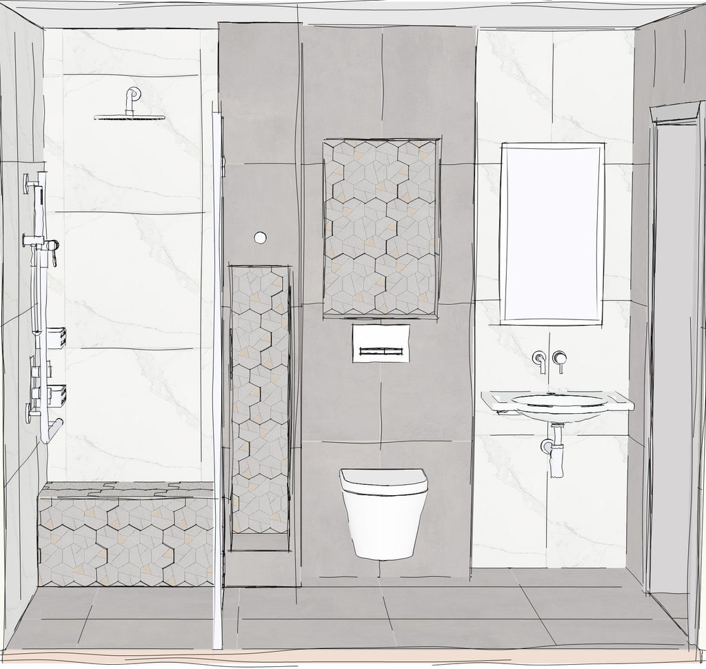 A computer generated sketch of a Fine & Able level access wetroom design focusing on shower area with built in shower bench, wall hung toilet and basin, with multiple niches inlaid with decorative hexagonal tiles