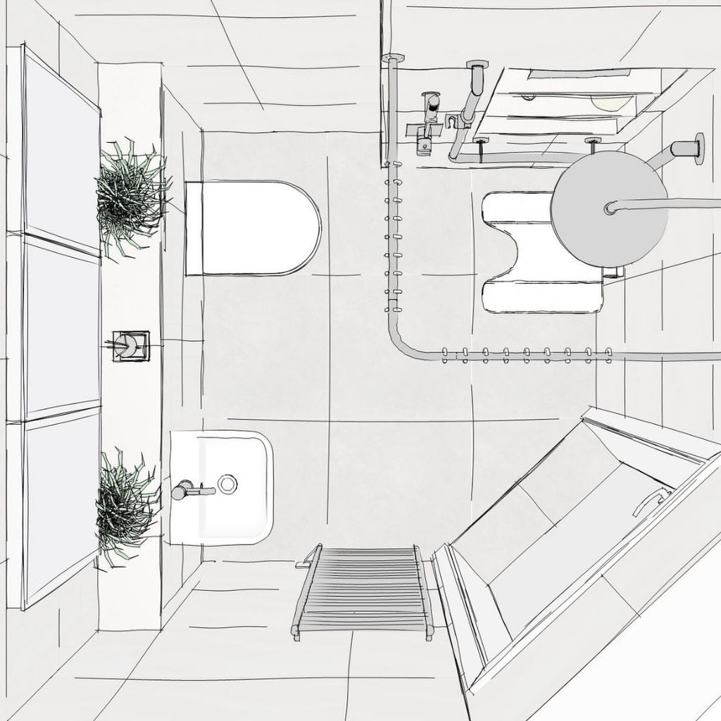 A CGI sketch of an accessible bathroom. Door enters room at diagonal. Corner shower area with shower curtain, shower riser with built in support and storage niche