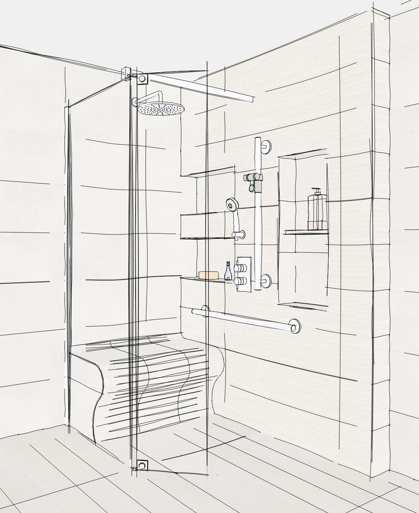 A CGI sketch of a shower area in a fuly tiled level access wetroom, a curved tiled bench is built into shower enclosure with storage niches beside and glass screen