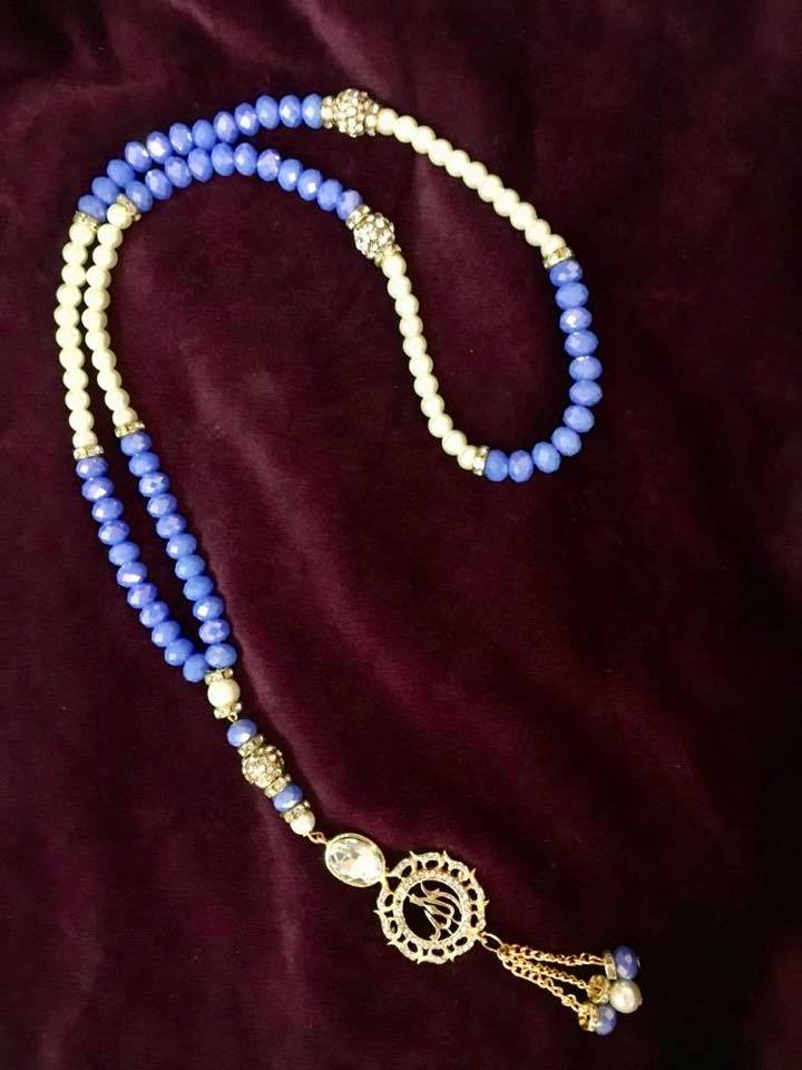 Blue and white Tasbih Mala