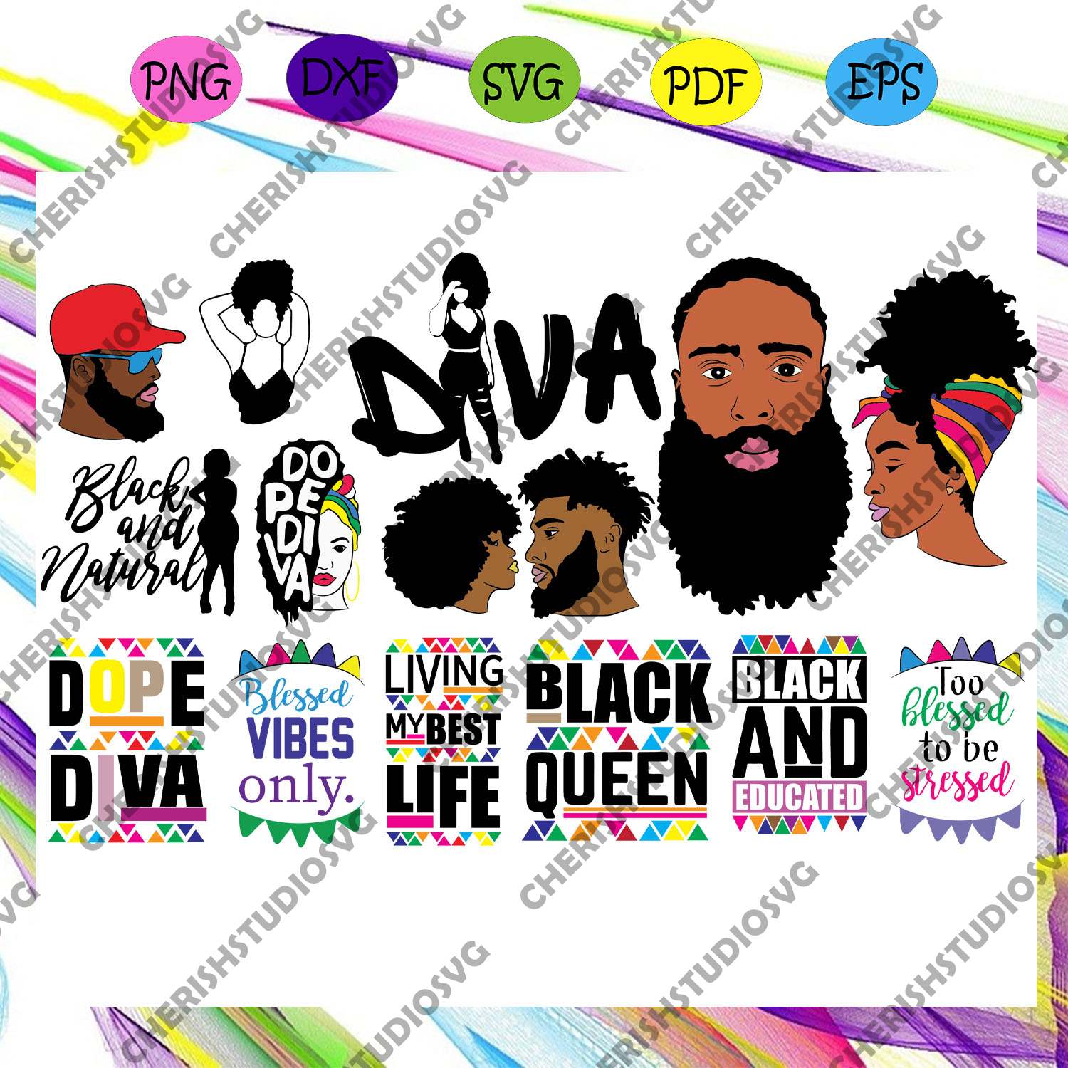15x Afro Woman And Man Bundle Svg, Black Woman Svg, Afro Queen Svg, Dope Diva For Silhouette, Files For Cricut, SVG, DXF, EPS, PNG Instant Download