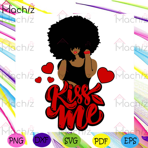 Afro Woman SVG, Valentine Svg, Valentines Day Svg, Happy Valentines Day svg, Kiss Me Svg, Kiss Svg, Afro Girl Svg, Black Girl Hair Svg, African American Svg, Valentines Gift Svg, Valentine Quotes Svg, Heart Svg, Love Svg, Couple Svg