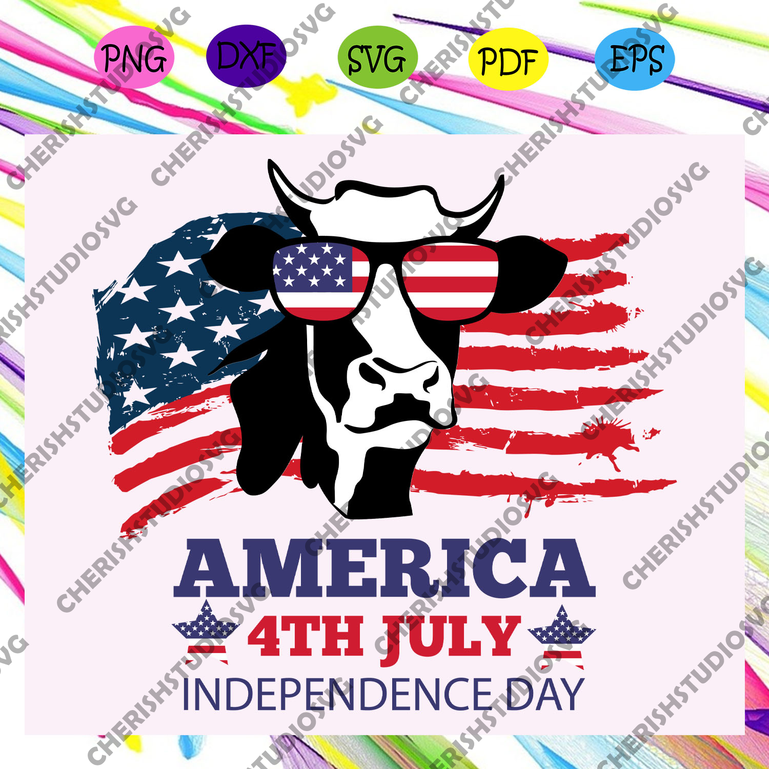 America 4th july independence day, heifer gift, heifer lover,independence day svg, happy 4th of july, patriotic svg,independence day gift,For Silhouette, Files For Cricut, SVG, DXF, EPS, PNG Instant Download